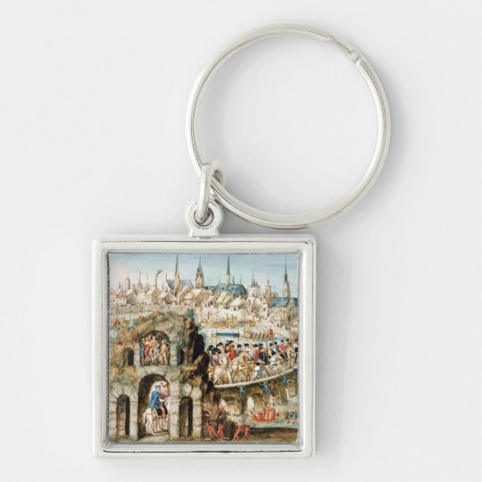 The Royal Entry Festival of Henri II  into Silver-Colored Square Key Ring