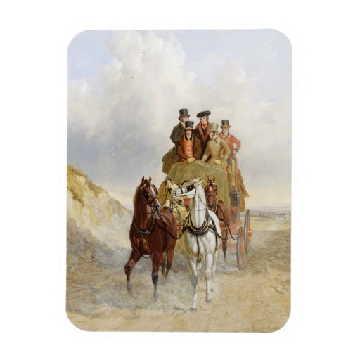 The Royal Mail Coach on the Road, 1841 (oil on pan Rectangle Magnet