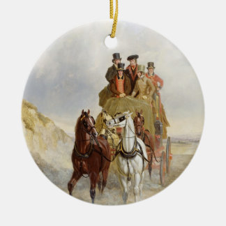 The Royal Mail Coach on the Road, 1841 (oil on pan Round Ceramic Decoration