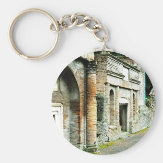 The Ruins of Pompeii - marketplace with temples Basic Round Button Key Ring