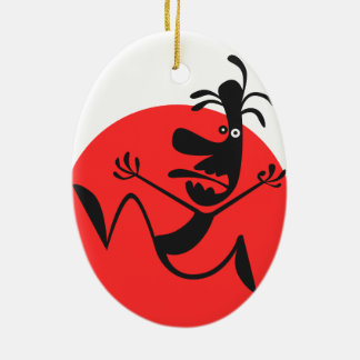 The Running Man Double-Sided Oval Ceramic Christmas Ornament