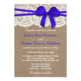 The Rustic Blue Bow Wedding Collection Card