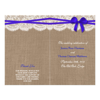 The Rustic Blue Bow Wedding Collection Programs 21.5 Cm X 28 Cm Flyer