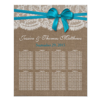 The Rustic Blue Bow Wedding Collection Seating Poster