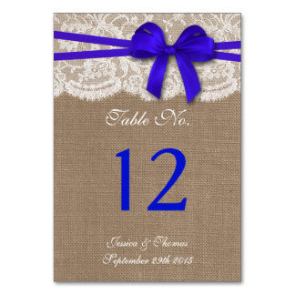 The Rustic Blue Bow Wedding Collection Table Cards