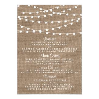 The Rustic Burlap String Lights Wedding Collection 11 Cm X 16 Cm Invitation Card