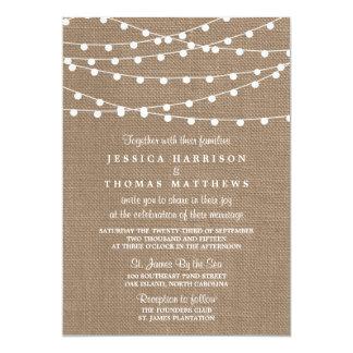 The Rustic Burlap String Lights Wedding Collection 13 Cm X 18 Cm Invitation Card