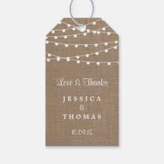 The Rustic Burlap String Lights Wedding Collection Gift Tags