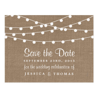 The Rustic Burlap String Lights Wedding Collection Postcard