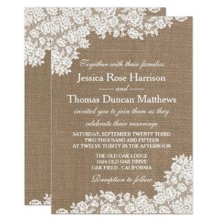 The Rustic Burlap & Vintage White Lace Collection 13 Cm X 18 Cm Invitation Card