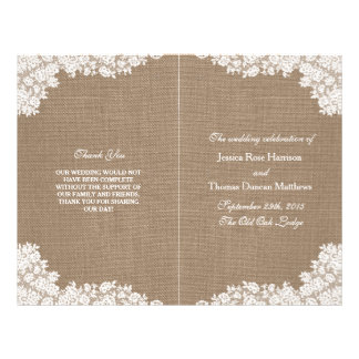 The Rustic Burlap & Vintage White Lace Collection 21.5 Cm X 28 Cm Flyer