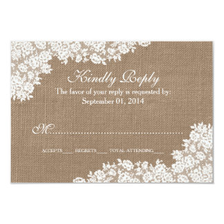The Rustic Burlap & Vintage White Lace Collection 9 Cm X 13 Cm Invitation Card