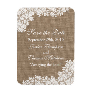 The Rustic Burlap & Vintage White Lace Collection Magnet