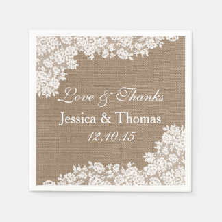 The Rustic Burlap & Vintage White Lace Collection Paper Napkin