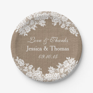 The Rustic Burlap & Vintage White Lace Collection Paper Plate