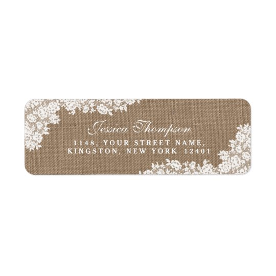 The Rustic Burlap & Vintage White Lace Collection Return Address Label
