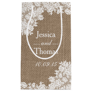 The Rustic Burlap & Vintage White Lace Collection Small Gift Bag