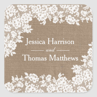 The Rustic Burlap & Vintage White Lace Collection Square Sticker
