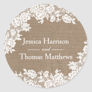 The Rustic Burlap & Vintage White Lace Collection Round Sticker