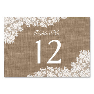 The Rustic Burlap & Vintage White Lace Collection Table Card