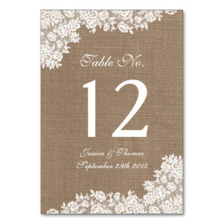 The Rustic Burlap & Vintage White Lace Collection Table Cards