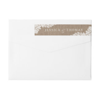 The Rustic Burlap & Vintage White Lace Collection Wrap Around Label