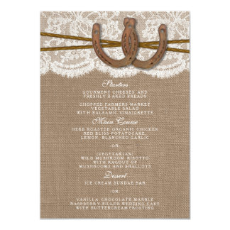 The Rustic Horseshoe Wedding Collection Menu Card 11 Cm X 16 Cm Invitation Card