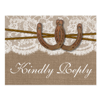 The Rustic Horseshoe Wedding Collection RSVP Postcard