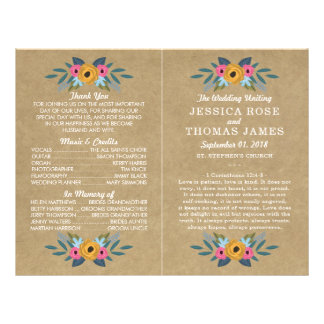 The Rustic Kraft Floral Wreath Wedding Collection Flyer