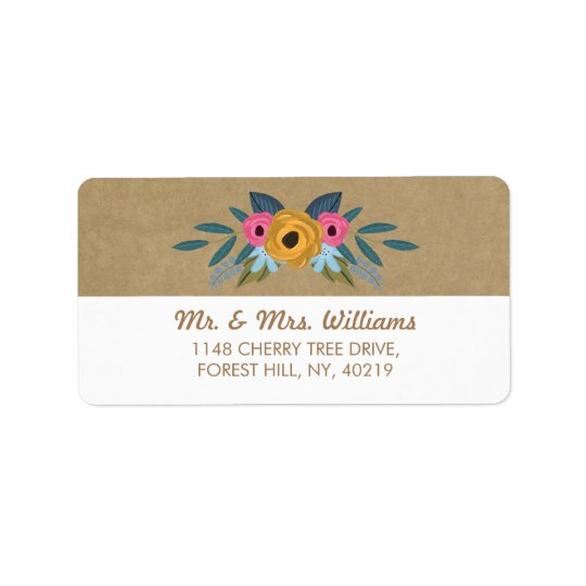 The Rustic Kraft Floral Wreath Wedding Collection Label