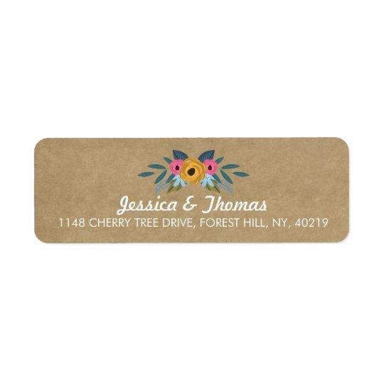 The Rustic Kraft Floral Wreath Wedding Collection Return Address Label