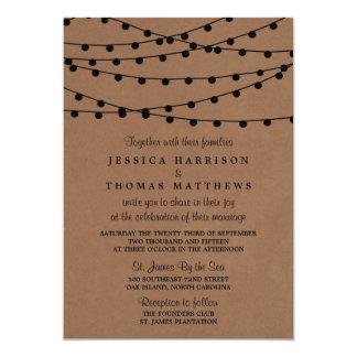 The Rustic Kraft String Lights Wedding Collection 13 Cm X 18 Cm Invitation Card