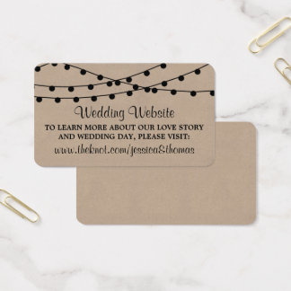 The Rustic Kraft String Lights Wedding Collection Business Card