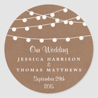 The Rustic Kraft String Lights Wedding Collection Classic Round Sticker