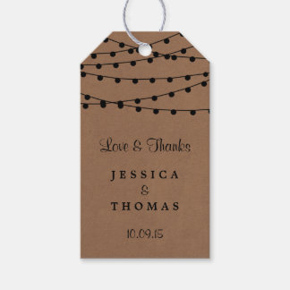 The Rustic Kraft String Lights Wedding Collection Gift Tags