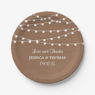 The Rustic Kraft String Lights Wedding Collection Paper Plate