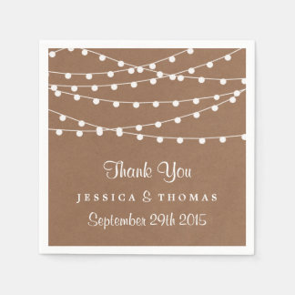 The Rustic Kraft String Lights Wedding Collection Paper Serviettes