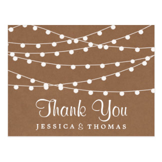 The Rustic Kraft String Lights Wedding Collection Postcard