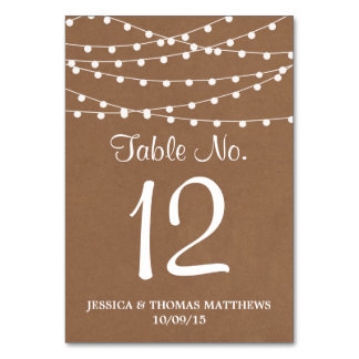 The Rustic Kraft String Lights Wedding Collection Table Card
