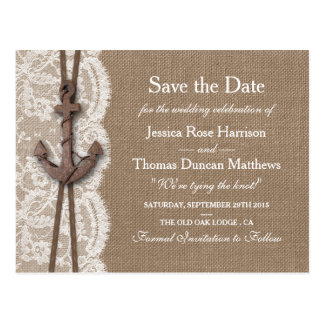 The Rustic Nautical Anchor Wedding Collection Postcard
