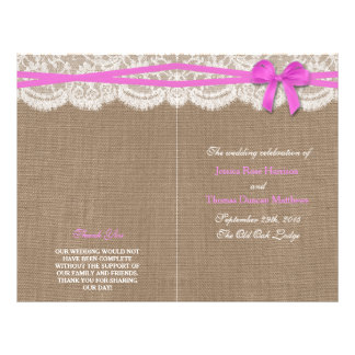 The Rustic Pink Bow Wedding Collection Programs 21.5 Cm X 28 Cm Flyer