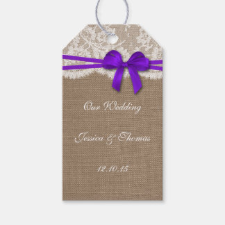 The Rustic Purple Bow Collection Tags