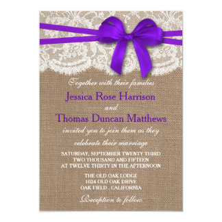 The Rustic Purple Bow Wedding Collection Card