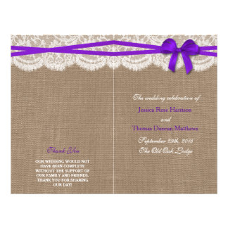 The Rustic Purple Bow Wedding Collection Programs 21.5 Cm X 28 Cm Flyer