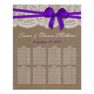The Rustic Purple Bow Wedding Collection Seating Poster
