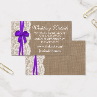 The Rustic Purple Bow Wedding Collection Website Business Card