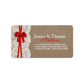 The Rustic Red Bow Wedding Collection Address Label