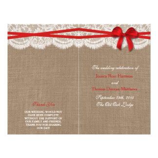 The Rustic Red Bow Wedding Collection Programs 21.5 Cm X 28 Cm Flyer