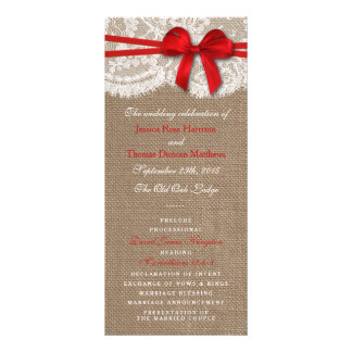 The Rustic Red Bow Wedding Collection Programs Rack Card