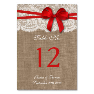 The Rustic Red Bow Wedding Collection Table Number Table Cards